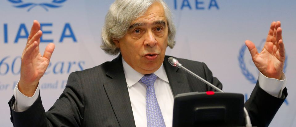 U.S. Secretary of Energy Moniz addresses a news conference during the IAEA general conference in Vienna