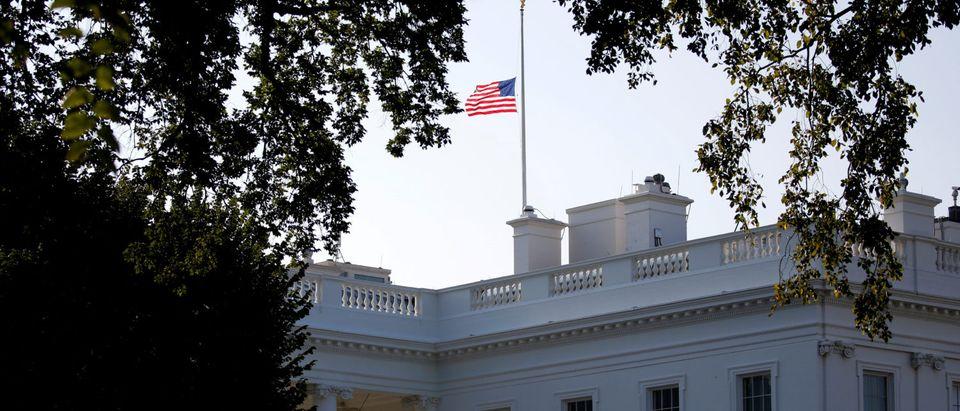 Flag flies at half-staff in honor of Senator John McCain (R-AZ) at the White House in Washington