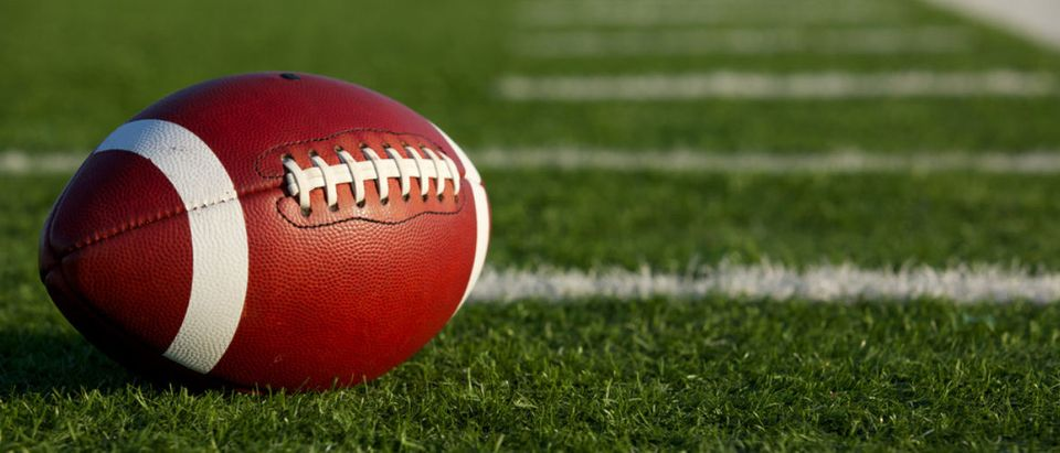 A football rests on a field. (Shutterstock/David Lee)