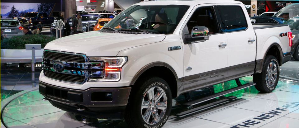 "A 2018 Ford F-150 ""King Ranch"" pickup truck is displayed during the North American International Auto Show in Detroit"
