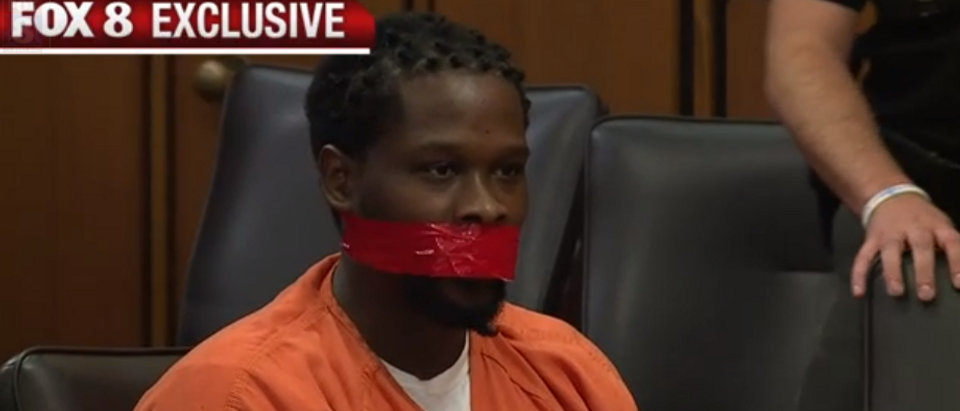 Franklyn Williams is gagged by a judge before sentencing (screengrab)
