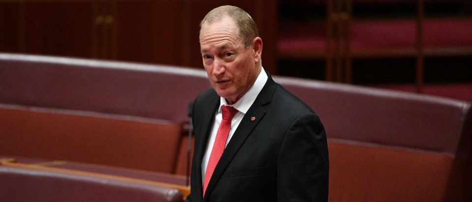 Katter's Australia Party senator Fraser Anning reacts in the Senate chamber at Parliament House in Canberra