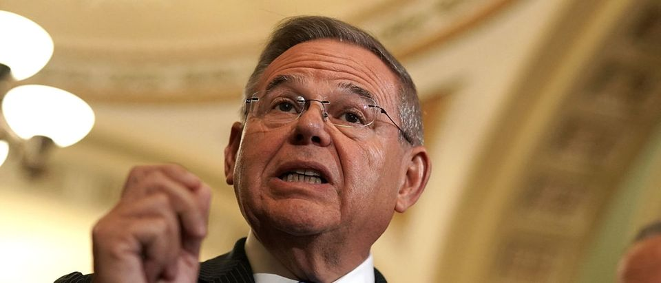 U.S. Sen. Bob Menendez (D-NJ) (L) speaks during a news briefing after a weekly policy luncheon July 17, 2018 at the U.S. Capitol in Washington, DC. Senate Democrats participated in a weekly luncheon to discuss Democratic agenda. Photo by Alex Wong/Getty Images