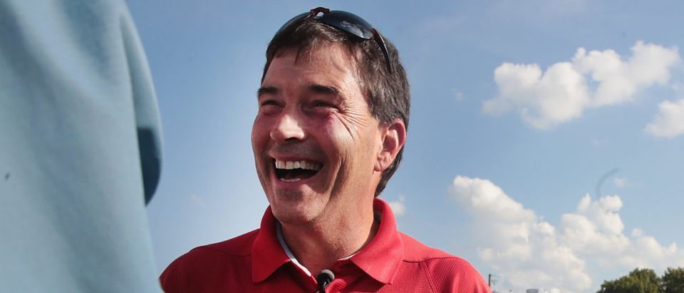 Ohio Republican congressional candidate Troy Balderson greets guests during a campaign stop at the Licking County Hartford Fair on August 6, 2018 in Hartford, Ohio. (Photo by Scott Olson/Getty Images)
