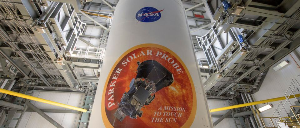 The United Launch Alliance Delta IV Heavy rocket payload fairing is seen with the NASA and Parker Solar Probe emblems, August 8, 2018 at Launch Complex 37, Cape Canaveral Air Force Station, Florida. Bill Ingalls/NASA via Getty Images