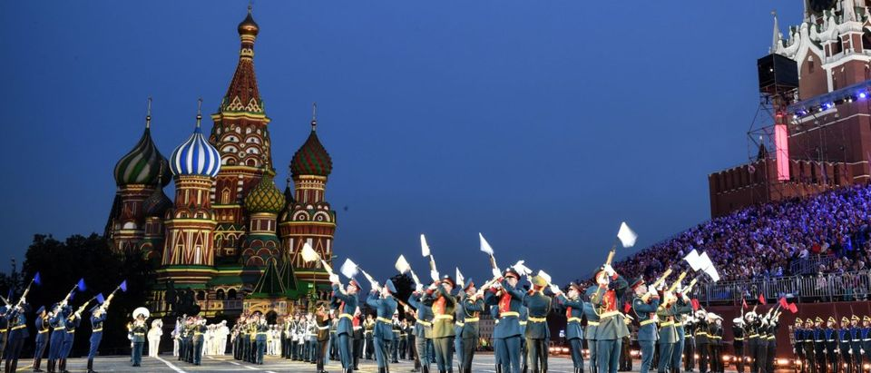 Russian honour guards perform during the 'Spasskaya Tower' international military and music festival on the Red Square in Moscow on August 24, 2018. ALEXANDER NEMENOV/AFP/Getty Images