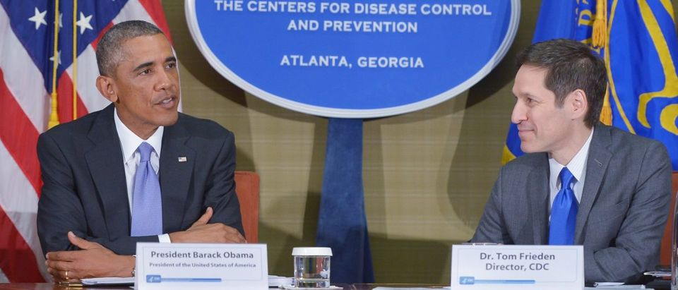 US President Barack Obama takes part in a briefing on the outbreak of the Ebola virus in West Africa, with CDC Director Tom Frieden (R) during a visit to the Centers for Disease Control and Prevention (CDC) on September 16, 2014 in Atlanta, Georgia. MANDEL NGAN/AFP/Getty Images