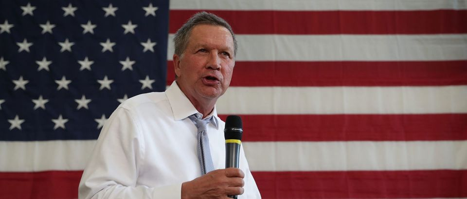 Republican presidential candidate and Ohio Governor John Kasich speaks during a campaign event April 25, 2016 in Rockville, Maryland. Governor Kasich continued to seek for his party's nomination for the general election. Alex Wong/Getty Images