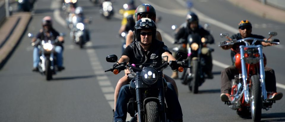 Harley Davidson's bikers arrive on July 15, 2018 for a parade in Tours at the American Tours Festival. GUILLAUME SOUVANT/AFP/Getty Images