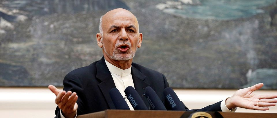 FILE PHOTO: Afghan President Ashraf Ghani speaks during a news conference in Kabul