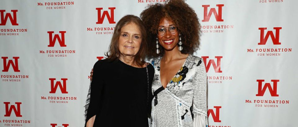 NEW YORK, NY - MAY 03: Founding Mother Gloria Steinem (L) and Recipient of the Marie C. Wilson Emerging Leader Award, Elaine Welteroth, attend the Ms. Foundation 30th Annual Gloria Awards at Capitale on May 3, 2018 in New York City. (Photo by Astrid Stawiarz/Getty Images for The Foundation for Women)