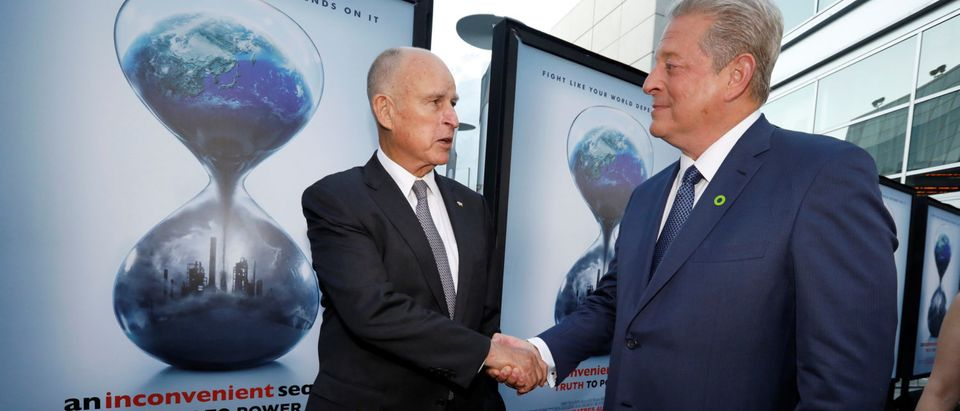 "Former U.S. Vice President Gore and California Governor Brown attend a screening for ""An Inconvenient Sequel: Truth to Power"" in Los Angeles"