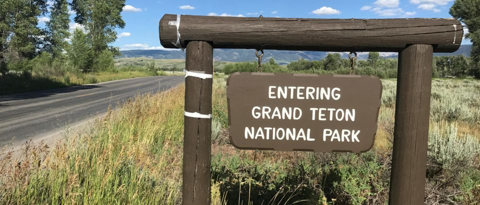 A signpost greets travellers at the Gros Ventre entrance to Grand Teton National Park, in Jackson Hole