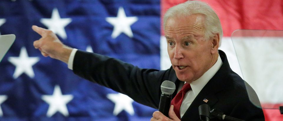 Former Vice President of the U.S. Biden speaks during a political rally in Newark, New Jersey