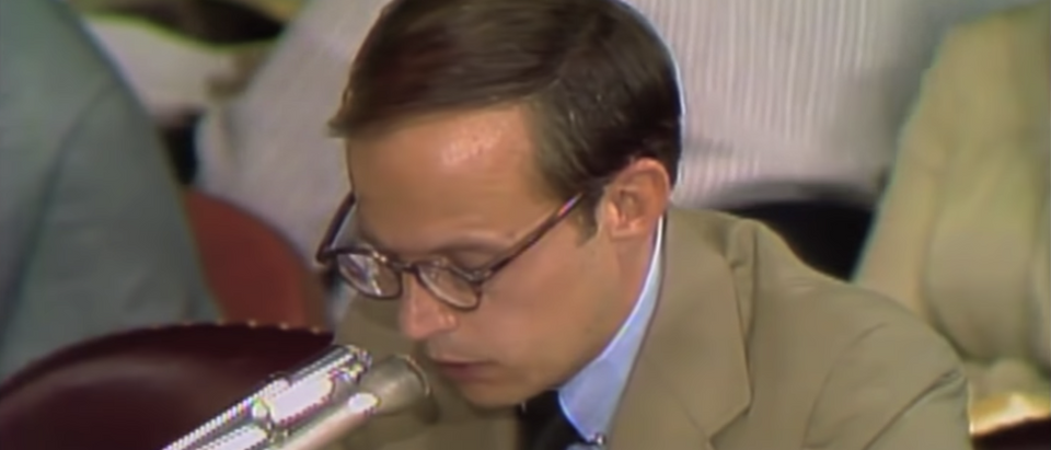 White House counsel John Dean testifies to the Watergate Committee.