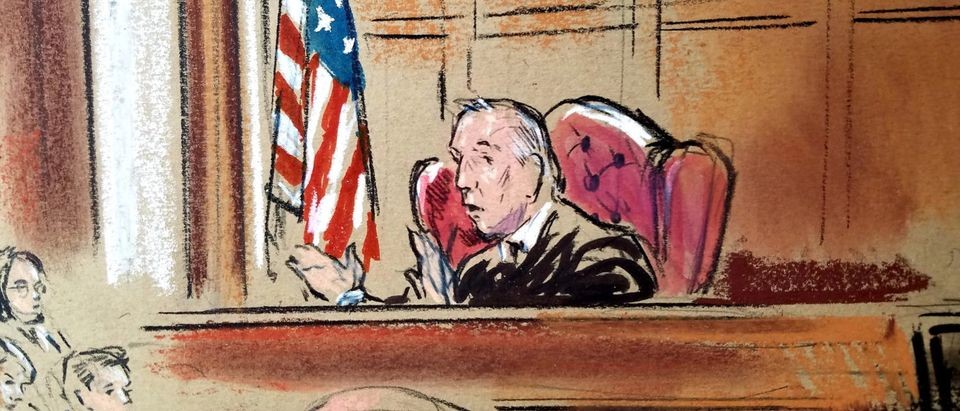 Judge T.S. Ellis presides over the trial of U.S. President Donald Trump's former campaign chairman Paul Manafort, on the fifth day of the trial, on bank and tax fraud charges stemming from Special Counsel Robert Mueller's investigation into Russian meddling in the 2016 U.S. presidential election, in federal court in Alexandria, Virginia, U.S., August 6, 2018. REUTERS/Bill Hennessy