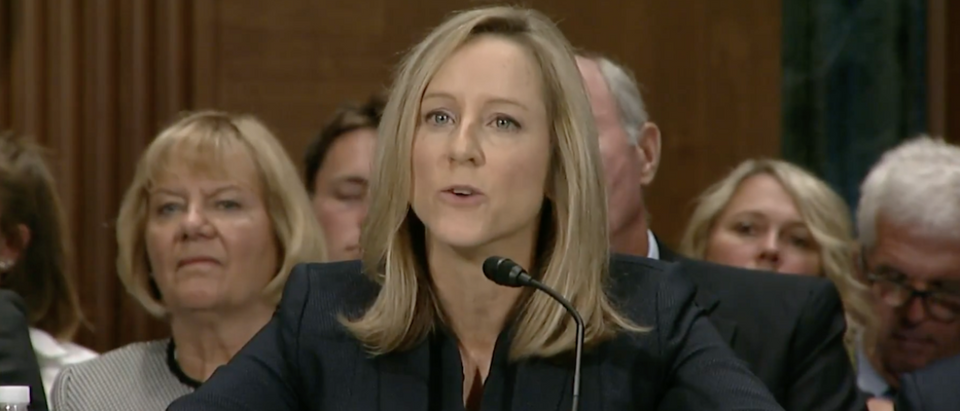 Pictured is Kathleen Kraninger at a Banking Committee Hearing. Screen Shot:YouTube