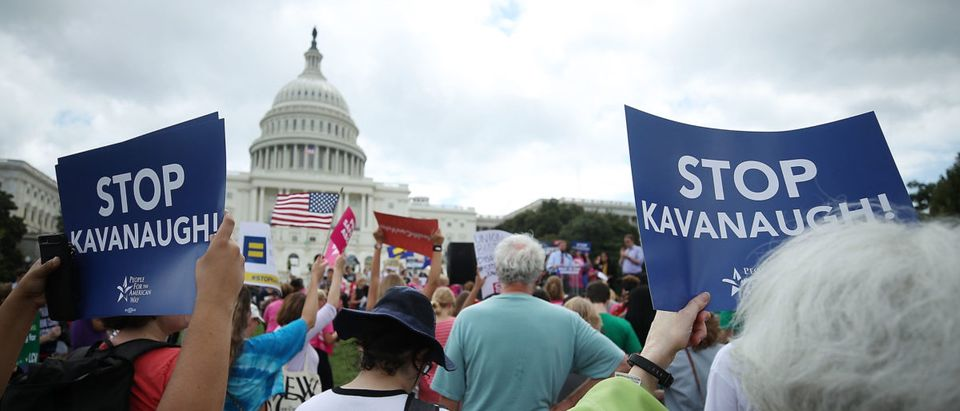Senate Democrats Rally Outside US Capitol Against Kavanaugh Nomination