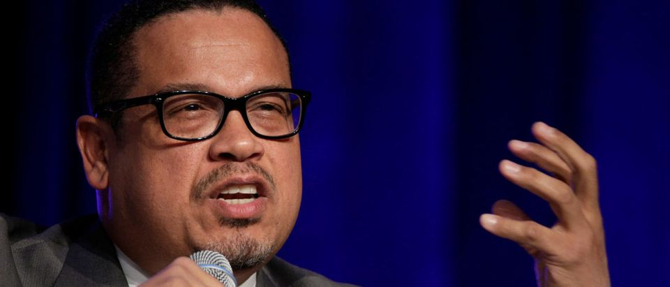 Rep. Keith Ellison (D-MN), a candidate for Democratic National Committee Chairman, speaks during a Democratic National Committee forum in Baltimore, Maryland.