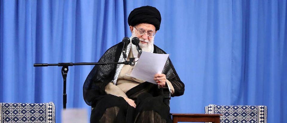 Iran's Supreme Leader Ayatollah Ali Khamenei speaks at the Hussayniyeh of Imam Khomeini in Tehran