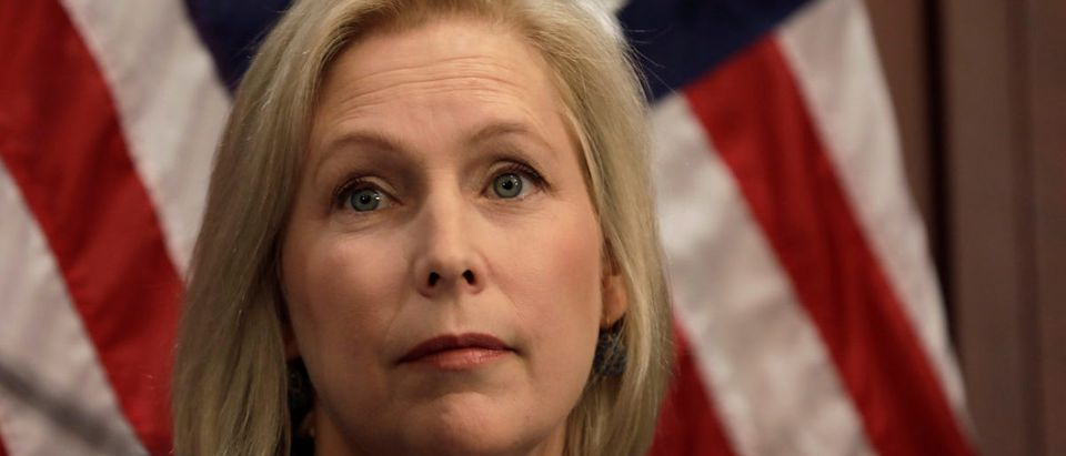 U.S. Senator Kirsten Gillibrand (D-NY) pauses during a news conference on Capitol Hill in Washington