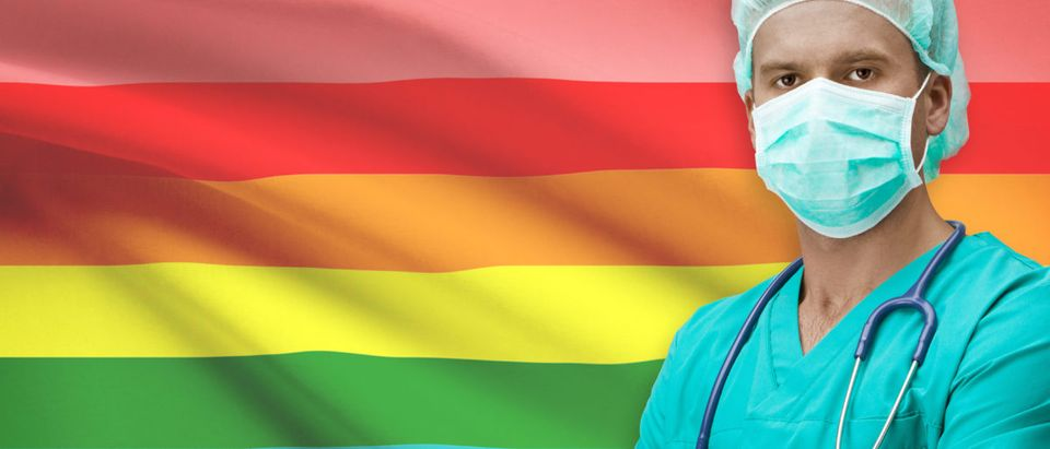 Pictured is an LGBTQ flag and a doctor. (Shutterstock/Niyazz)