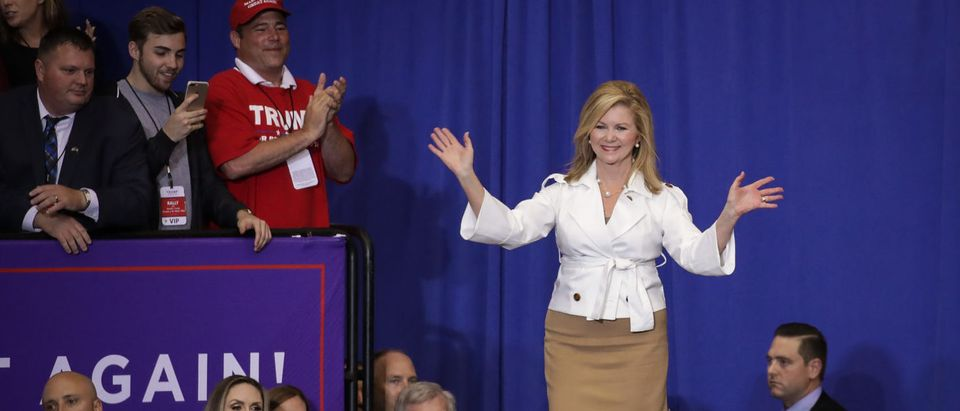 NASHVILLE, TN - MAY 29: Rep. Marsha Blackburn (R-TN), who is running for U.S. Senate, arrives for a rally with U.S. President Donald Trump at the Nashville Municipal Auditorium, May 29, 2018 in Nashville, Tennessee. Earlier in the day, President Trump held a fundraising event in support of Rep. Marsha Blackburn (R-TN), who is running for a U.S. Senate seat against former two-term Tennessee Governor Phil Bredesen, a Democrat. They are competing for the Senate seat currently held by Sen. Bob Corker (R-TN), who declined to run for a third term. Recent polling indicates a close race between Blackburn and Bredesen. (Photo by Drew Angerer/Getty Images)