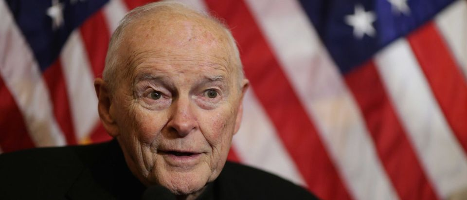 WASHINGTON, DC - DECEMBER 08: Cardinal Theodore McCarrick, archbishop emeritus of Washington, speaks during a news conference with senators and national religious leaders to respond to attempts at vilifying refugees and to call on lawmakers to engage in policymaking and not 'fear-mongering' at the U.S. Capitol December 8, 2015 in Washington, DC. Following last week's mass shooting in San Bernardino, Calinfornia, leading Republican presidential candidate Donald Trump called on Monday for the United States to bar all Muslims from entering the country. (Photo by Chip Somodevilla/Getty Images)