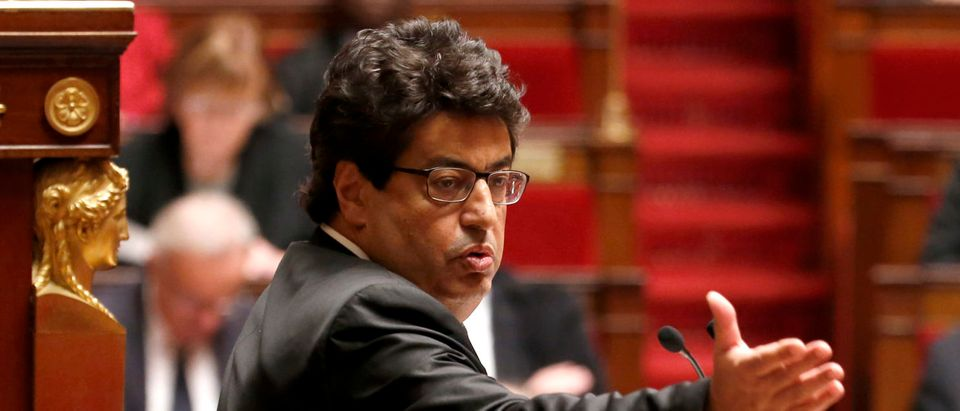French Union of Democrats and Independents deputy Meyer Habib delivers a speech during a debate on Palestine status at the National Assembly in Paris