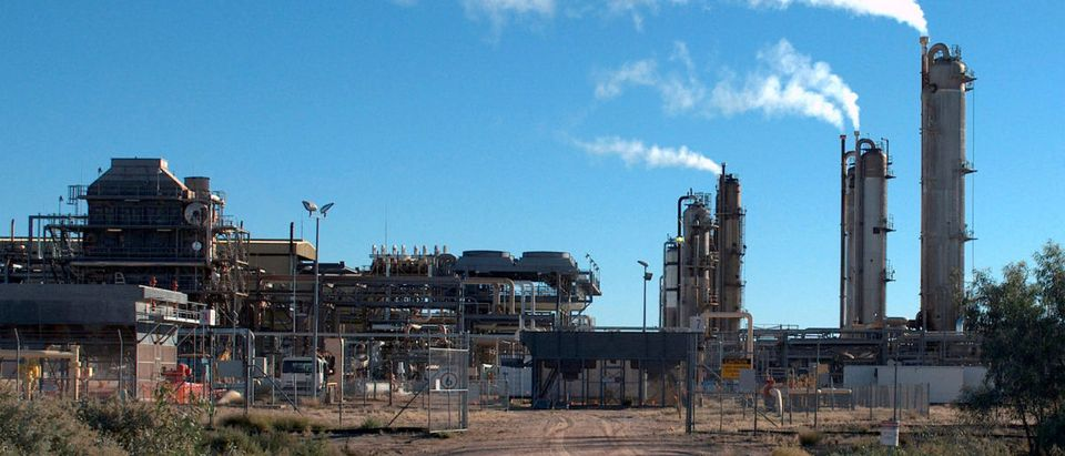 The Santos-operated Moomba gas plant is seen outside Moomba
