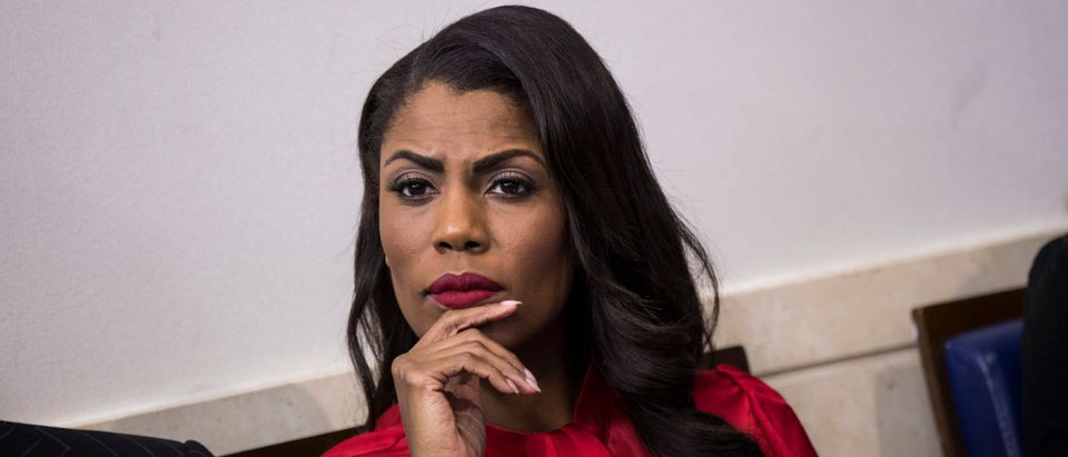 Director of Communications for the White House Public Liaison Office Omarosa Manigault listens during the daily press briefing at the White House, October 27, 2017 in Washington, D.C. (Drew Angerer/Getty Images)