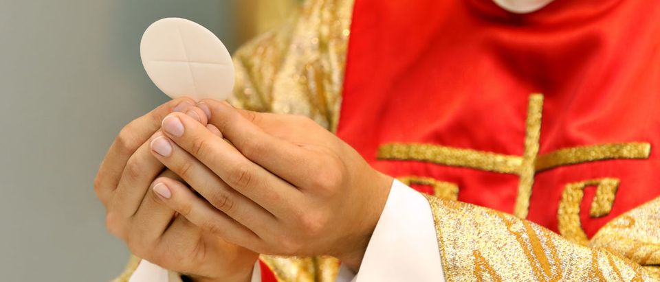 A Catholic priest celebrates the liturgy. (Shutterstock/ wideonet)