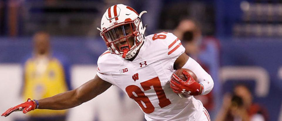 INDIANAPOLIS, IN - DECEMBER 03: Quintez Cephus #87 of the Wisconsin Badgers runs with the ball during the first quarter of the Big Ten Championship game against the Penn State Nittany Lions at Lucas Oil Stadium on December 3, 2016 in Indianapolis, Indiana. (Photo by Gregory Shamus/Getty Images)