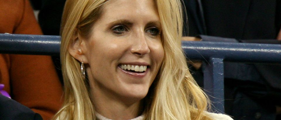 Conservative commentator Ann Coulter watches play at the US Open tennis tournament in New York