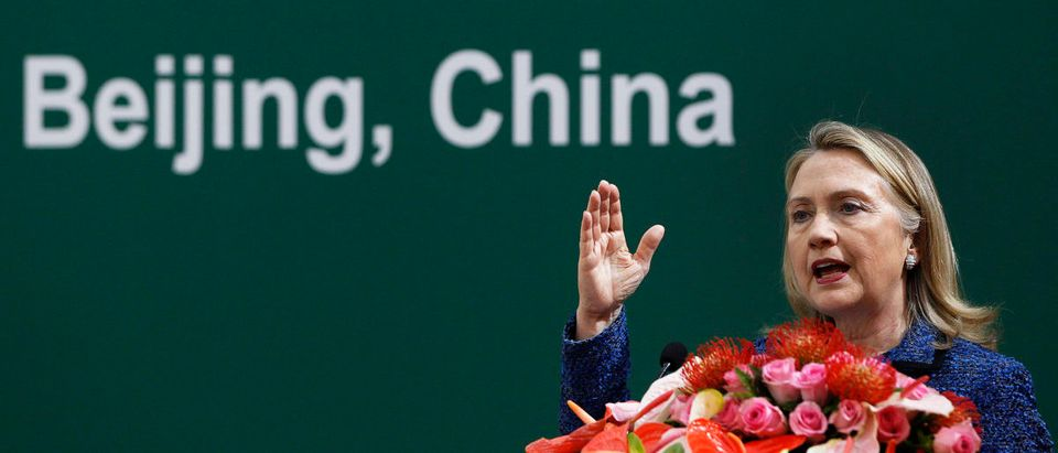 U.S. Secretary of State Hillary Clinton speaks at a China-U.S. Eco Partnerships Signing Ceremony at the Diaoyutai Guesthouse in Beijing, May 3, 2012. REUTERS/Shannon Stapleton