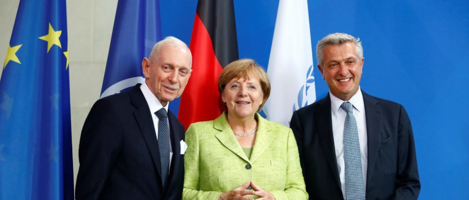 German Chancellor Merkel, U.N. High Commissioner for Refugees (UNHCR), Grandi, and the Director General of the International Organisation for Migration (IOM), Swing, address a news conference at the Chancellery in Berlin