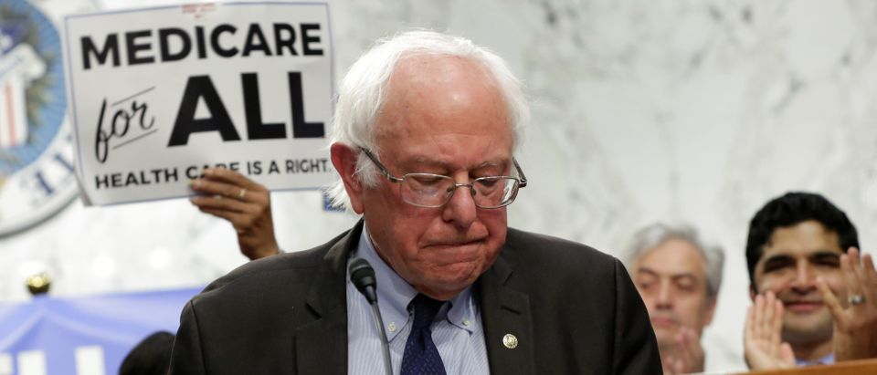 """Senator Bernie Sanders (I-VT) speaks during an event to introduce the """"Medicare for All Act of 2017"""