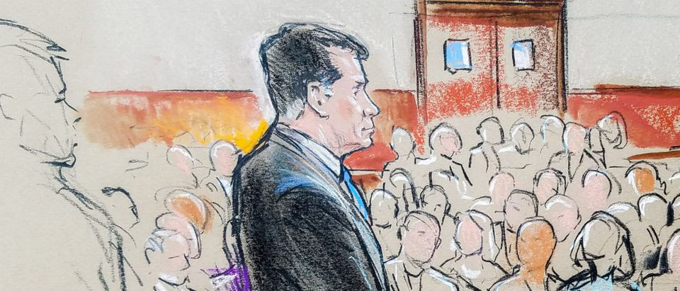 Former Trump campaign manager Paul Manafort stands in a court room sketch, on the opening day of his trial on bank and tax fraud charges on July 31, 2018. REUTERS/Bill Hennessy