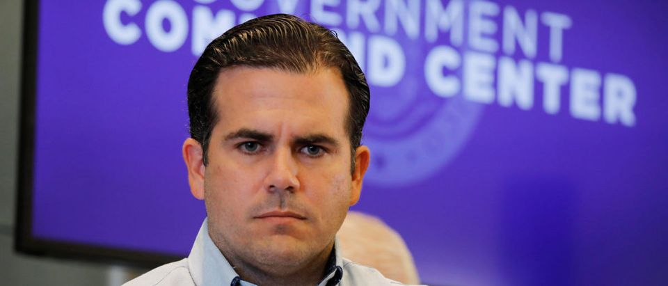 Governor of Puerto Rico Ricardo Rossello attends a news conference days after Hurricane Maria hit Puerto Rico, in San Juan