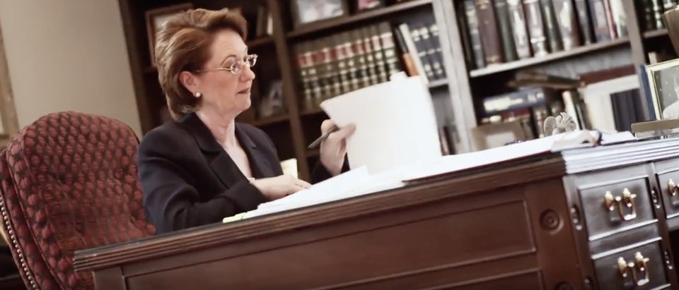 Justice Robin Jean Davis in a 2012 campaign commercial. YouTube screenshot/RobinDavis2012)