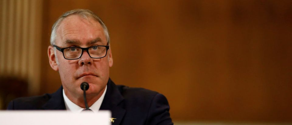 U.S. Secretary of the Interior Ryan Zinke testifies in front of the Senate Committee on Energy and Natural Resources on Capitol Hill in Washington