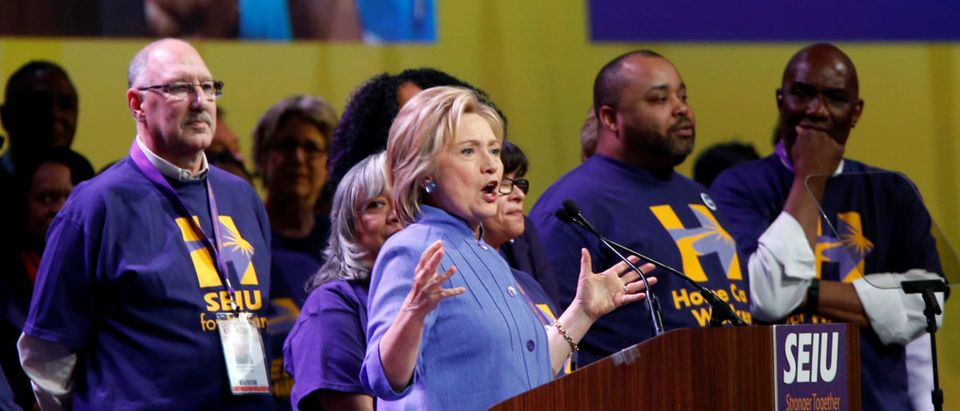 Democratic presidential candidate Hillary Clinton addresses Service Employees Union (SEIU) members at the union's 2016 International Convention in Detroit,
