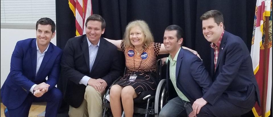 Rep. Scott Taylor (VA), RonDeSantis (FL), Vicky Gaetz, Donald Trump Jr., Rep. Matt Gaetz (FL)./Brandon Phillips