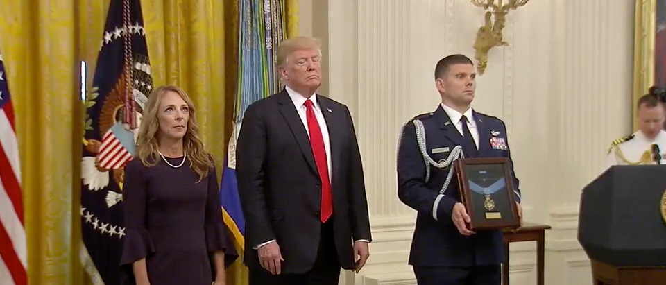 President Trump awards Medal of Honor at the White House./Screenshot