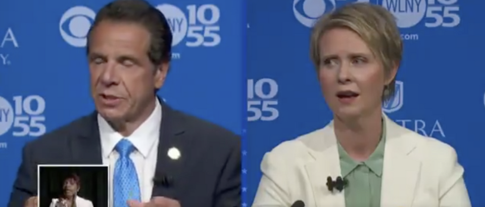 Nixon and Cuomo debate in NY (Twitter screenshot @CBSNews)