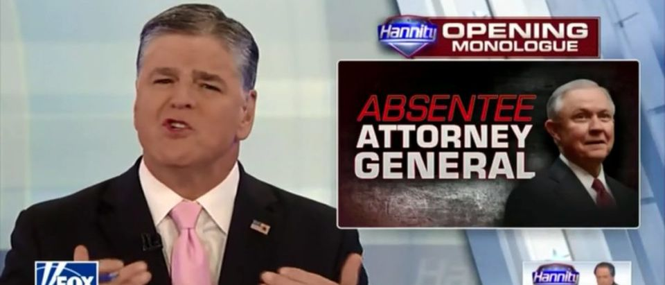 Sean Hannity Jabs Jeff Sessions For Committing 'Tremendous Disservice' To Trump - Fox News 8-23-18 (Screenshot/Fox News)