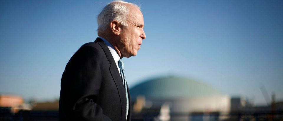 Republican presidential candidate McCain arrives for news conference in Annapolis
