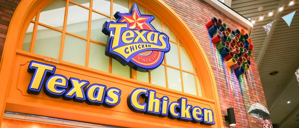 Pictured is a sign for Texas Chicken.(Shutterstock/ArliftAtoz2205)