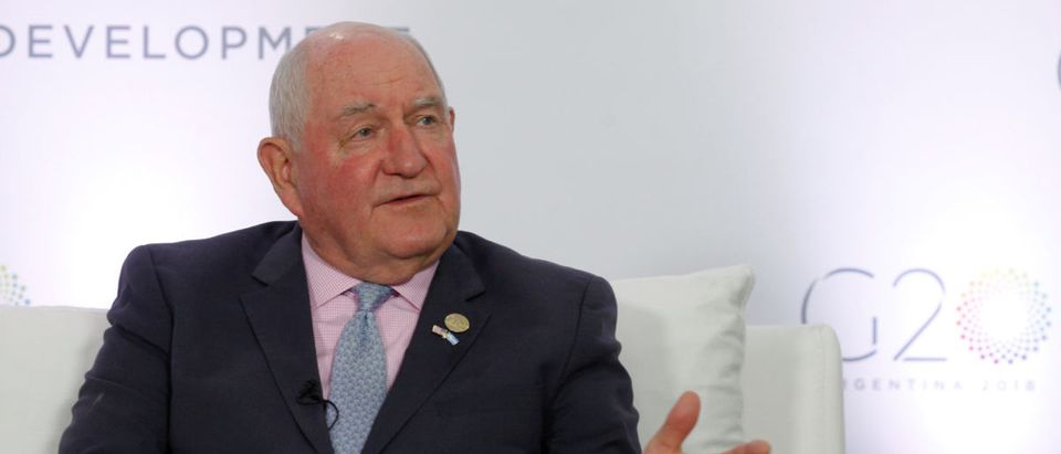 U.S. Agriculture Secretary Sonny Perdue speaks at an interview with Reuters during the G20 Meeting of Agriculture Ministers in Buenos Aires