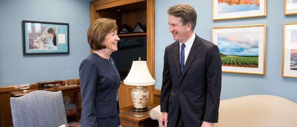 U.S. Supreme Court nominee Brett Kavanaugh meets with U.S. Senator Susan Collins on capitol hill in Washington, U.S., August 21, 2018. REUTERS/Alex Wroblewski